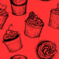 Hand drawn seamless pattern sweet cupcakes sketch background vector Royalty Free Stock Photography