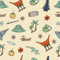 Hand drawn seamless pattern with symbols of Indonesia.
