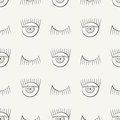 Hand drawn seamless pattern with symbols of open and closed eye. Modern stylish linear decorative ornament.