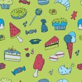 Hand drawn seamless pattern, template with Ice cream, Muffins, Sweets, Candy`s. Vector illustration.