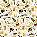 Hand drawn seamless pattern with traditional Beer fest attributes on white background.