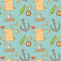 Hand drawn seamless pattern treasure map Stock Photo