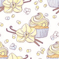 Hand drawn seamless pattern with vanilla cupcake and doodle buttercream for pastry shop menu