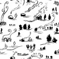 Hand drawn seamless pattern winter landscape with houses in doodle incomplete style.
