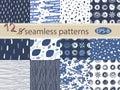 Hand drawn seamless patterns set. 12 grunge vector texture. Royalty Free Stock Photo