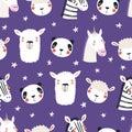 Cute sleepy animals seamless pattern