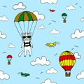Hand-drawn seamless vector pattern with skydiver cat, air baloon, planes and clouds. Design concept for kids textile print