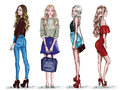 Hand drawn set with beautiful young women in fashion clothes. Stylish girls. Sketch.