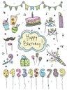 Hand drawn set Birthday elements. Cakes, balloons, festive attributes. Scrapbook design