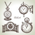 Hand drawn set of clocks and watches in retro style Stock Image