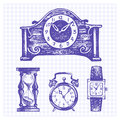 Hand drawn set of clocks and watches vector illustrations Royalty Free Stock Photography
