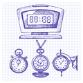 Hand drawn set of clocks and watches vector illustrations Stock Image