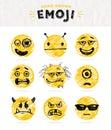 Hand drawn set of Emoticons.