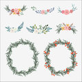 Hand drawn set of floral bouquets and wreath with olive leaves, roses, peonies and other flowers.  vector Royalty Free Stock Photo