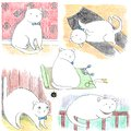 Hand drawn set of funny lazy white cats