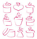 Hand drawn set gift boxes for your anniversary illustration Royalty Free Stock Images