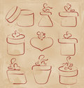 Hand drawn set gift boxes for your anniversary illustration Royalty Free Stock Photo