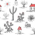 Hand drawn set with green cactus and mexican houses. Saguaro, blue agave, sun, houses, and jars. Latin American Royalty Free Stock Photo