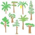 Hand Drawn Set of Green Trees