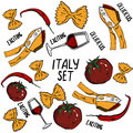 Hand drawn set of Italy