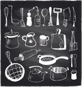 Hand drawn set of kitchen utensils chalkboard. Royalty Free Stock Photo