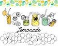 Hand drawn set of lemonade on white background.