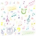 Hand Drawn Set Of  Music Symbo...