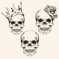 Hand drawn set sketch sculls tattoo design line art. Vintage vec Royalty Free Stock Photo