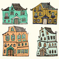 Hand drawn set of sketched typical country houses on white background. Cartoon houses. Front view. Collorful illus Royalty Free Stock Photo