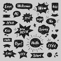 Hand drawn set of speech bubbles with dialog words Royalty Free Stock Photo