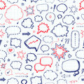 Hand drawn set of speech bubbles. Vector seamless pattern Royalty Free Stock Photo