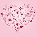 Hand Drawn Set of Valentine`s Day Symbols. Children`s Funny Doodle Drawings of Red Hearts, Gifts, Rings, Balloons