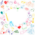 Hand Drawn Set of Valentines Day Symbols. Children`s Funny Doodle Drawings of Colorful Hearts, Gifts, Rings, Balloons and Candle