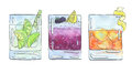 Hand drawn set of watercolor cocktails Caipirinha Bramble Rusty Royalty Free Stock Photo