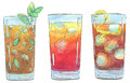Hand drawn set of watercolor cocktails Long Island Iced Tea Sex