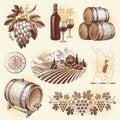 Ručně malované sada víno vinárstvo