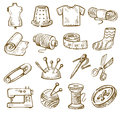 Hand drawn sewing vector icons set on white Stock Photos