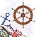 Hand drawn ship stearing wheel. Royalty Free Stock Photo