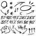 Hand drawn signs and numbers for social networks. Sale in the store and phone number. Arrows and dots. EPS 10