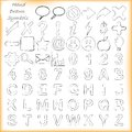 Hand drawn signs symbols and alphabets set of on white background Royalty Free Stock Image