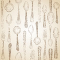 Hand drawn silverware icons seamless pattern background vector file layered for easy manipulation and custom coloring Royalty Free Stock Image