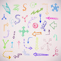 Hand drawn simple arrows set made in vector Royalty Free Stock Photo