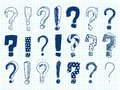 Hand drawn sketch exclamation and question marks Royalty Free Stock Photo
