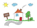 Hand drawn sketch house for sale eps Stock Photo