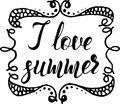 Hand drawn sketch, lettering I love summer into hand drawn grunge frame