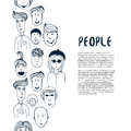 Hand drawn sketch people collection. Vector design business template. Border with people for flyer, banner, poster, brochure Royalty Free Stock Photo