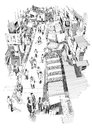 Hand drawn sketch of people walking in market street Royalty Free Stock Photo