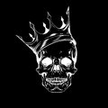 Hand drawn sketch scull with crown. Tattoo line art. Vintage vec Royalty Free Stock Photo