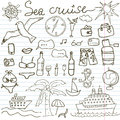 Hand drawn sketch sea cruise doodles vector illustration of travel and summer elements on paper notebook Royalty Free Stock Images