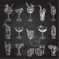 Hand drawn sketch set of alcoholic cocktails. Vector illustration Royalty Free Stock Photo
